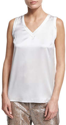 Brunello Cucinelli Silk-Blend V-Neck Shell