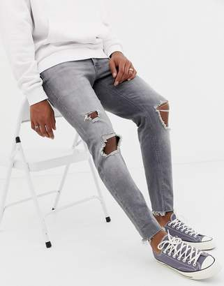 Jack and Jones Slim Fit Raw Hem Jeans