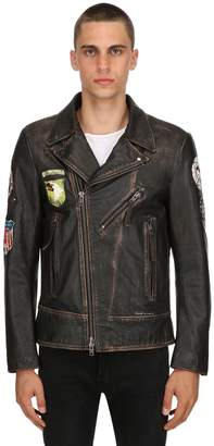 S.W.O.R.D. 6.6.44 Vintage Effect Leather Biker Jacket