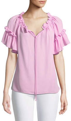 Milly Santorini Ruffle Short-Sleeve Top