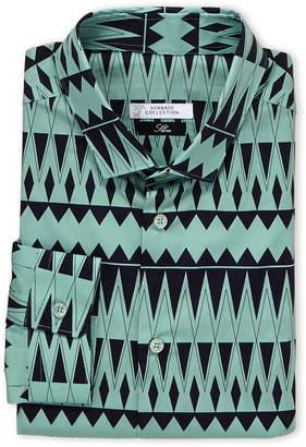 Versace Green & Navy Printed Slim Fit Dress Shirt