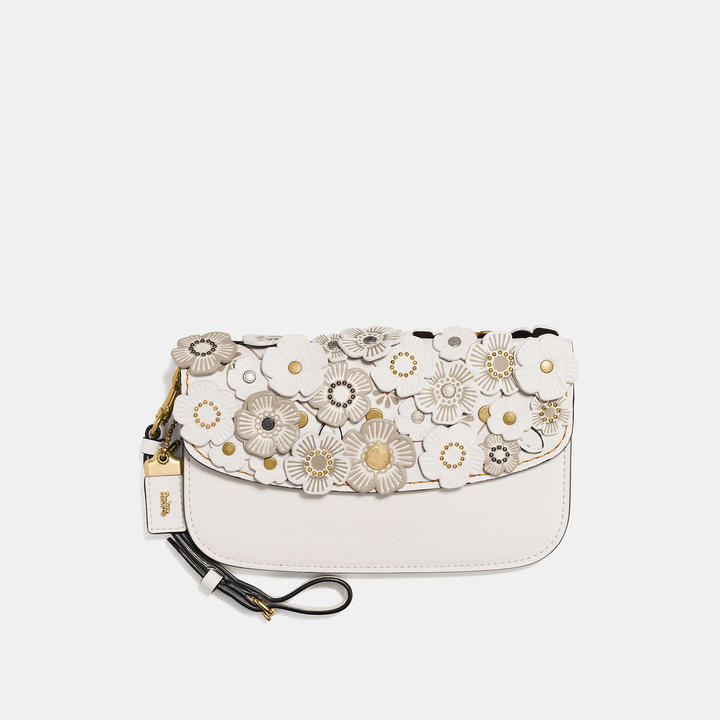 Coach   COACH Coach Clutch In Glovetanned Leather With Tea Rose