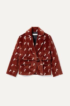 Chloé Kids - Ages 2 - 5 Embroidered Cotton-velvet Blazer