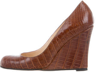 Christian Louboutin  Christian Louboutin Alligator Round-Toe Wedges