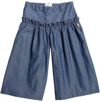 Fendi Cotton Chambray Wide Pants W/ Ruffle