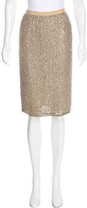 Oscar de la Renta Bead-Embellished Silk Skirt