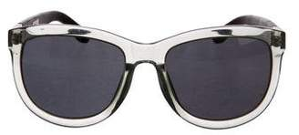 Linda Farrow The Row x Leather-Trimmed Tinted Sunglasses