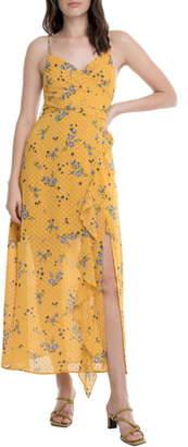 ASTR the Label Bette Clip Dot Floral Print Wrap Dress
