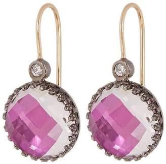 Larkspur & Hawk Rhodium-Washed Silver Olivia Button White Quartz Diamond Earrings