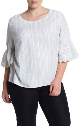 Susina Bell Sleeve Striped Boatneck Shirt (Plus Size)