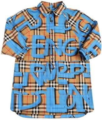 Burberry Graffiti Check Cotton Shirt Dress