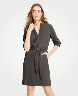 Ann Taylor Roll Tab Sleeve Belted Shirtdress