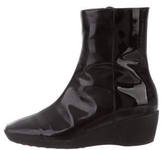 Aquatalia Patent Leather Wedge Boots