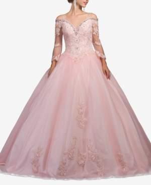 Dancing Queen Juniors' Rhinestone Cold-Shoulder Corset Gown