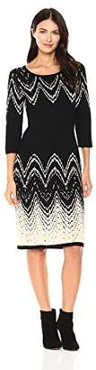 Gabby Skye Women's 3/4 Sleeve Round Neck Midi Sweater Sheath Dress