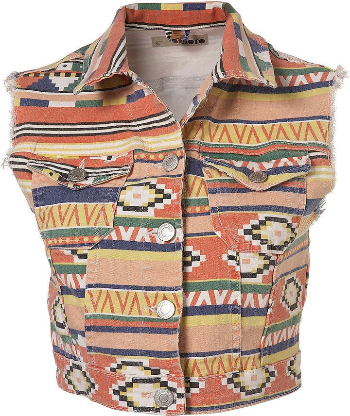 Topshop Aztec Print Sleevless Gilet