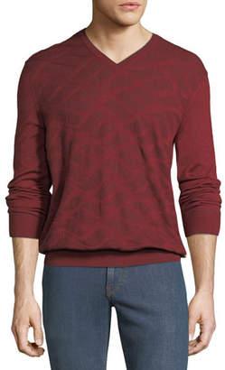 Stefano Ricci Men's Wave-Pattern V-Neck Sweater