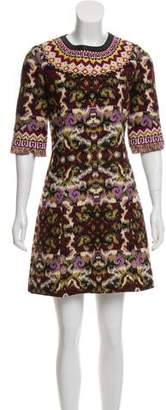 Andrew Gn Patterned Wool Mini Dress
