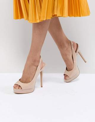 Aldo Slingback Blush Patent Platform Heeled Sandals