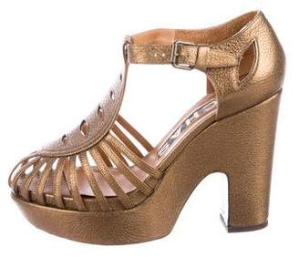 Rochas Metallic Platform Sandals