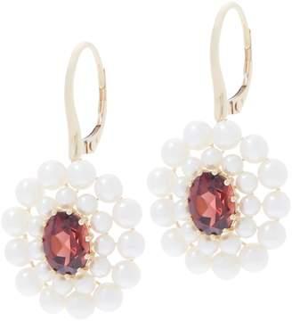 Honora Gemstone and Pearl Flower Earrings, 14K Gold