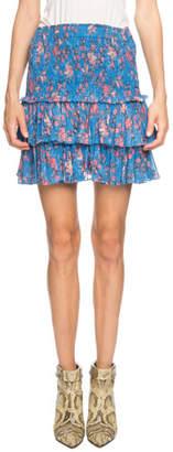 Etoile Isabel Marant Naomi Smocked Floral Tiered Mini Skirt