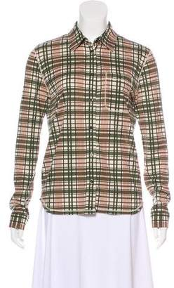 KORS Check Button-Up Top