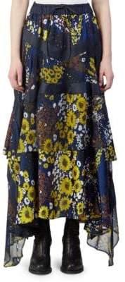 Sacai Floral Print Ruffle Maxi Skirt