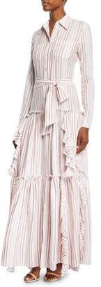 Alexis Pavilla Striped Tiered Ruffle Button-Front Maxi Dress