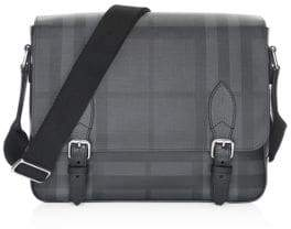 Burberry Men's Medium Hendley Tartan Messenger Bag - Charcoal