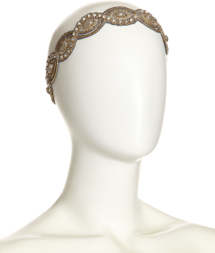 Deepa Gurnani Gunmetal Scalloped Crystal Headband