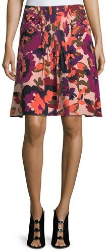 Trina Turk Floral-Print A-Line Silk Skirt w/ Pintuck Details