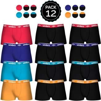 Umbro 12 pcs. Boxers Set 100% Cotton Black(x8)/red/Blue/lightblue/Orange