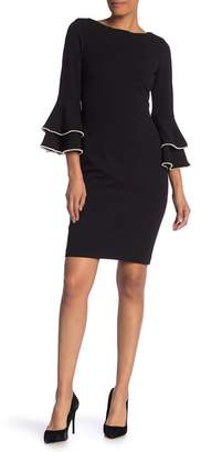 Modern American Designer Solid Pearl Bell Sleeve Sheath Dress