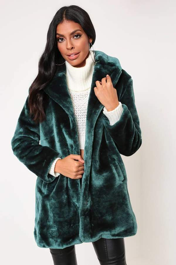 Isawitfirst Green Relaxed Fit Faux Fur Coat