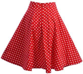 Filfeel Women's Dot Print A-Shaped High Waist Flare Skirt Red Pleated Skirt(L-)