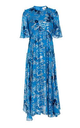 Prabal Gurung Flutter Sleeve Metallic Floral Dress