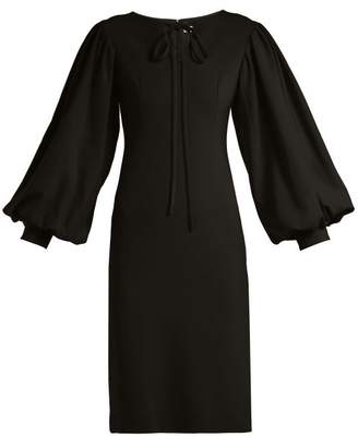 Osman Puff Sleeve Crepe Dress - Womens - Black