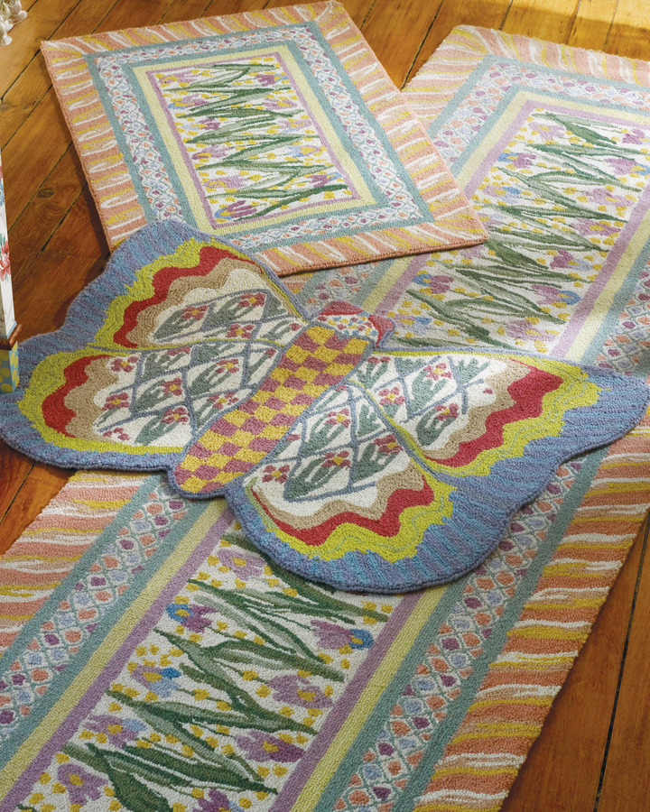 "Mackenzie Childs MacKenzie-Childs ""Bearded Iris"" & ""Butterfly"" Rugs"