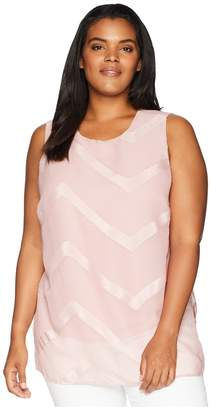 Vince Camuto Specialty Size Plus Size Sleeveless Sheer Chevron Mix Media Tunic Women's Blouse