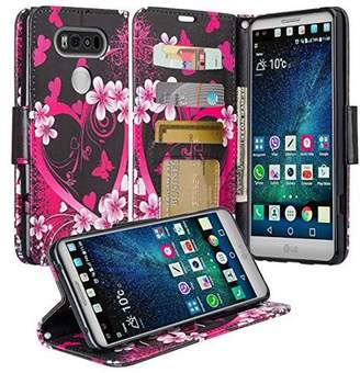 LG Electronics V20 Case - Wydan Wallet Leather Credit Card Kicktand Feature Cover w/ Wrist Strap Heart Flower - Black Pink