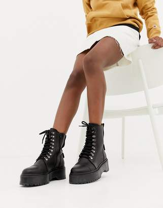 Bronx black leather chunky sole hiker boots