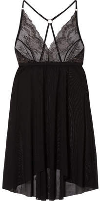 Hanky Panky Mesh And Metallic Lace Chemise - Charcoal