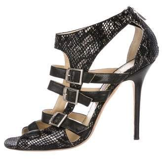Jimmy Choo Metallic Suede Buckle-Accented Sandals