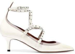 Valentino Embellished Two-tone Patent-leather Pumps