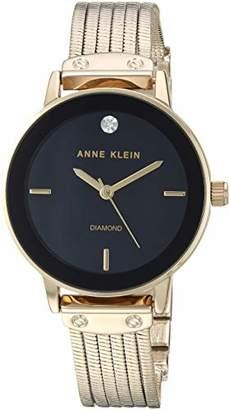 Anne Klein Women's AK/3220BKGB Diamond-Accented Gold-Tone Chain Bracelet Watch