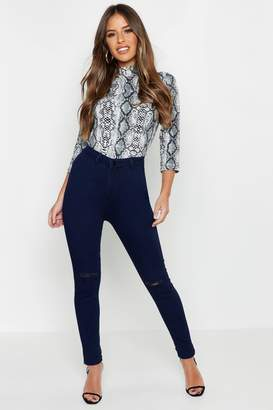 boohoo Petite Rip Knee One Button Skinny Jean