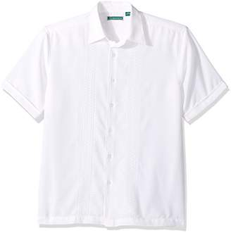 Cubavera Men's Short Sleeve Polyester Embroidered-Panel Button-Down Shirt
