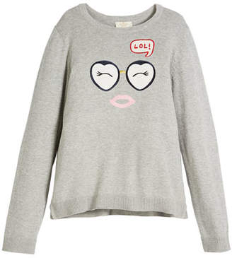 Kate Spade Lol Embroidered Long-Sleeve Sweater, Size 7-14