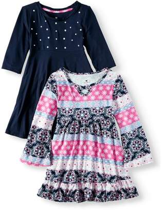 ONE STEP UP Print and Pearl Stud Soft Knit Dresses, 2-Pack (Little Girls & Big Girls)